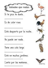 animales-que-vuelan-comprensión-lectora-frases