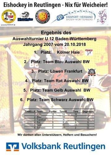 Ergebnistabelle U12 Auswahlturnier Baden Württemberg 20102018