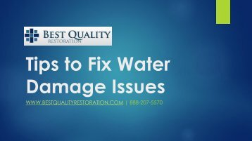Tips to Fix Water Damage Issues