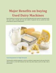 Major Benefits on buying Used Dairy Machines