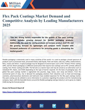 Flex Pack Coatings Market Demand and Competitive Analysis by Leading Manufacturers 2025