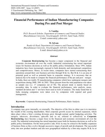 Financial Performance of Indian Manufacturing ... - EuroJournals