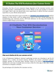 AI Chatbots That Will Revolutionize Your Customer Service