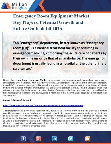 Emergency Room Equipment Market Key Players, Potential Growth and Future Outlook till 2025