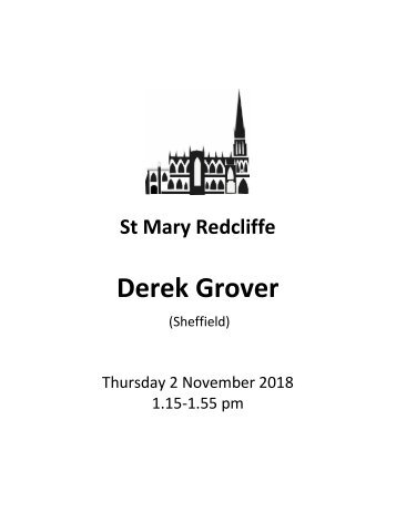 St Mary Redcliffe Church Lunchtime at Redcliffe - Derek Grover November 2 2018