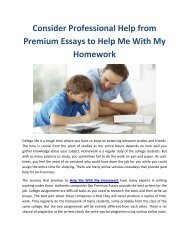 Consider Professional Help from Premium Essays to Help Me With My Homework
