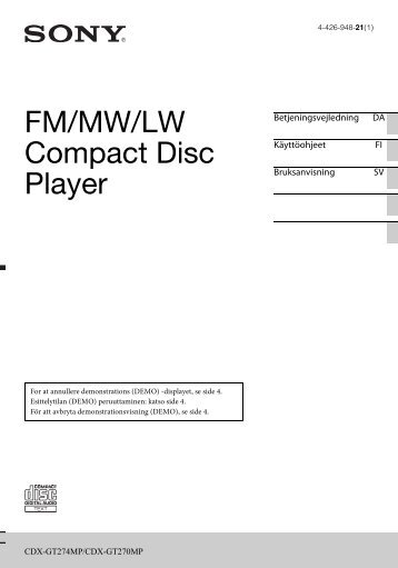 Sony CDX-GT274MP - CDX-GT274MP Mode d'emploi Danois