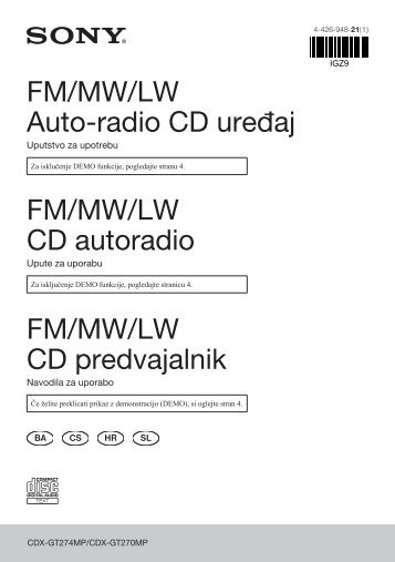 Sony CDX-GT274MP - CDX-GT274MP Consignes d'utilisation Serbe