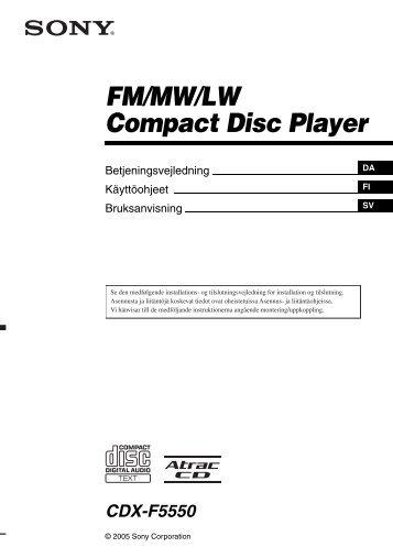 Sony CDX-F5550 - CDX-F5550 Mode d'emploi Danois