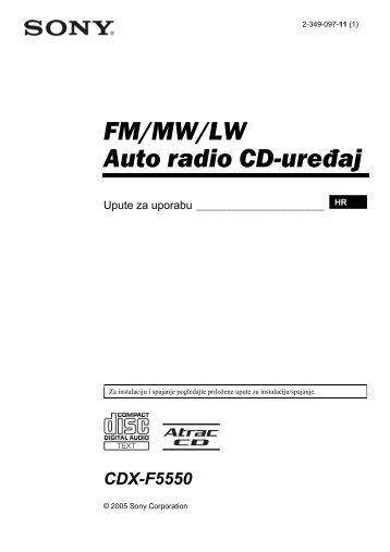 Sony CDX-F5550 - CDX-F5550 Mode d'emploi Croate