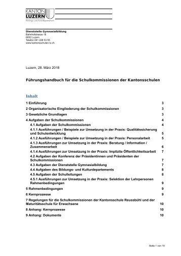 Kanton Luzern_Gymnasialbildung_Fuehrungshandbuch Schulkommissionen_Maerz2018