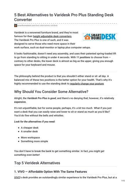 Smarthomedesk Com 5 Best Alternatives To Varidesk Pro Plus Standing