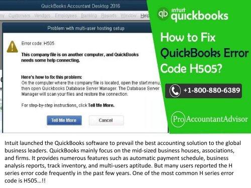 What is QuickBooks Error Code H505?