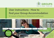 User instructions - How to find your Group Accommodation for Leisure or Business in Switzerland and Europe