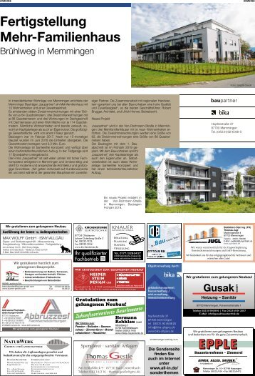 Fertigstellung Mehr-Familienhaus Brühlweg in Memmingen