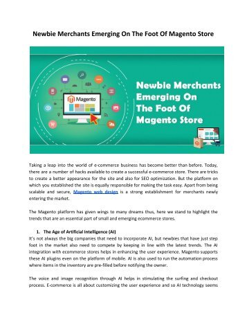 Newbie Merchants Emerging On The Foot Of Magento Store