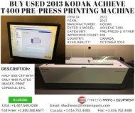 Buy Used 2013 Kodak Achieve T400 Pre-Press Printing Machine