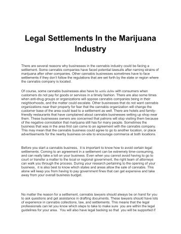 Legal Settlements In the Marijuana Industry