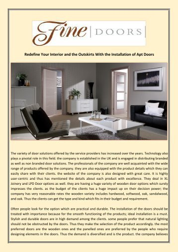Redefine Your Interior and the Outskirts With the Installation of Apt Doors
