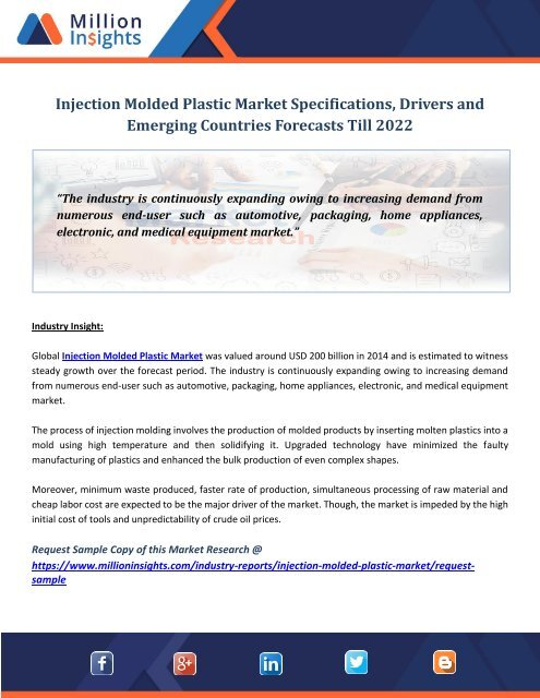 Injection Molded Plastic Market Specifications, Drivers and Emerging Countries Forecasts Till 2022