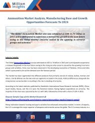 Ammunition Market Analysis, Manufacturing Base and Growth Opportunities Forecasts To 2024