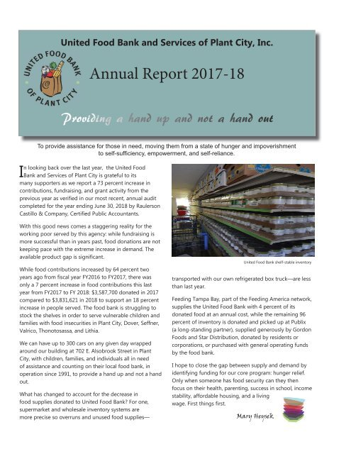 United Food Bank and Services of Plant City Annual Report FY18 (Pages)