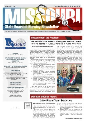 Missouri State Board of Nursing Newsletter - November 2018