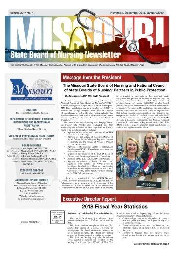 Missouri State Board of Nursing Newsletter - November 2018