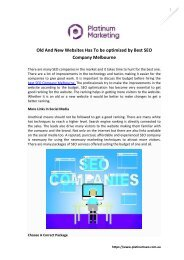 Old And New Websites Has To be optimized by Best SEO Company Melbourne