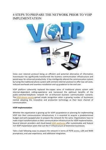 4 STEPS TO PREPARE THE NETWORK PRIOR TO VOIP IMPLEMENTATION