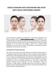 DAZZLE EVERYONE WITH YOUR BEFORE AND AFTER WITH FACIAL CONTOURING SURGERY
