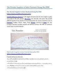 Talc Powder Supplier in India Thailand Chiang Mai PRM