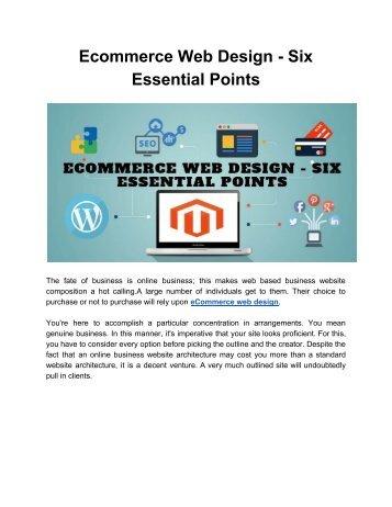 Ecommerce Web Design - Six Essential Points
