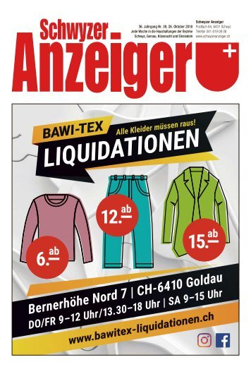Schwyzer Anzeiger – Woche 43 – 26. Oktober 2018