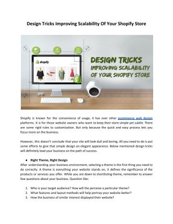 Design Tricks Improving Scalability Of Your Shopify Store