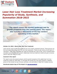 Laser Hair Loss Treatment Market Increasing Popularity of Study, Synthesis, and Summation 2018-2022