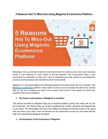 5 Reasons Not To Miss-Out Using Magento E-commerce Platform