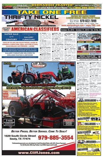 Thrifty Nickel/American Classifieds Oct. 25 Edition Bryan/College Station
