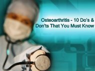 Osteoarthritis - 10 Do's & Don'ts That You Must Know