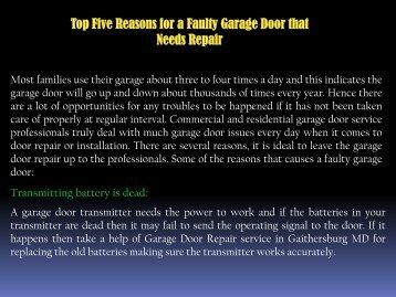 Top Five Reasons for a Faulty Garage Door that Needs Repair