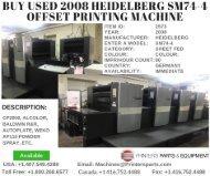 Buy Used 2008 Heidelberg SM74-4 Offset Printing Machine