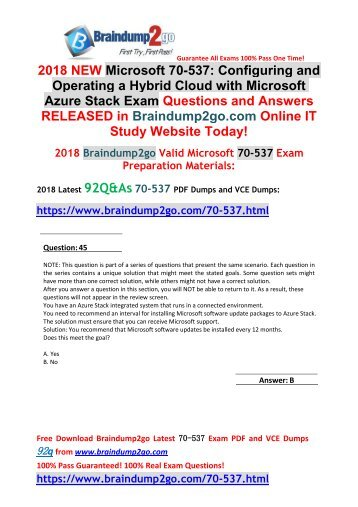 [2018-Oct-Version]New 70-537 VCE and 70-537 PDF Dumps 92Q&As Free Share(Q45-Q55)