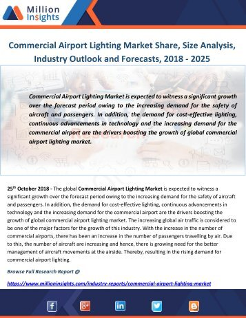 Commercial Airport Lighting Market Share, Size Analysis, Industry Outlook and Forecasts, 2018 - 2025