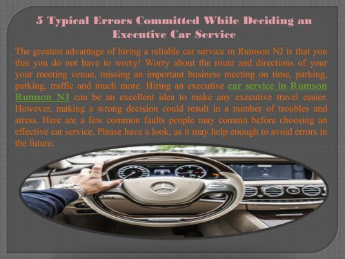 5 Typical Errors Committed While Deciding an Executive Car Service