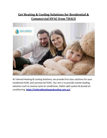 Get Heating & Cooling Solutions for Residential and Commercial HVAC from THACS