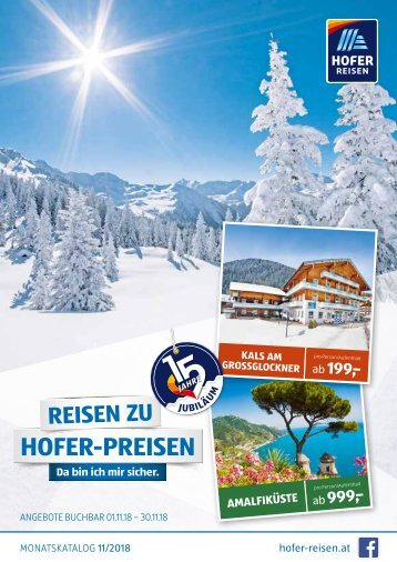 HOFER REISEN Monatskatalog November 2018