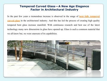 Tempered Curved Glass — A New Age Elegance Factor in Architectural Industry