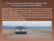 Kenya & Tanzania Safari- The Ultimate Way To Explore African Rich Wildlife-converted
