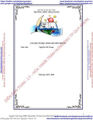 Tài liệu bồi dưỡng HSG môn Sinh 10, đầy đủ, trọng tâm 10