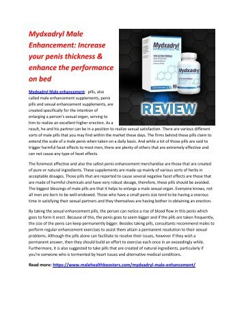 Mydxadryl Male Enhancement: Improve your vitality, virility, and fertility